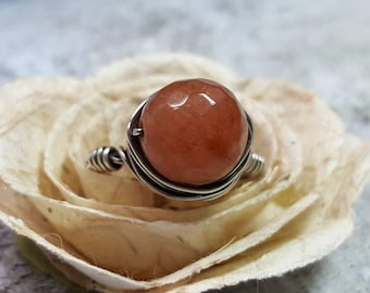 Ring Sterling Silver Wire Wrapped Carnelian Russet Red Orange #1388