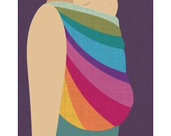 Babywearing Art Print Back Carry Northern Lights Baby Sling Giclee Art Print Gift