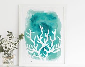 Turquoise Artwork, Coral Print, Printable Art Decor, Digital Download, Coral Wall Art, Blue Print, Teal Wall Art, Ocean Art, Beach House Art