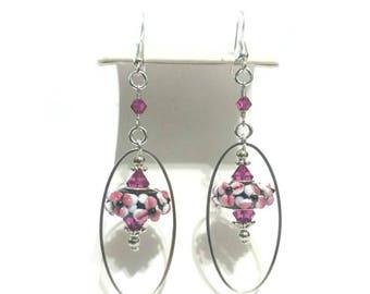 Floral Earrings for Women | Boho Earrings | Hoop Earrings | Long Earrings | Pink Flower Earrings | Flower Child