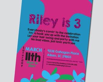 Trolls (Poppy Inspired) Birthday Invitation