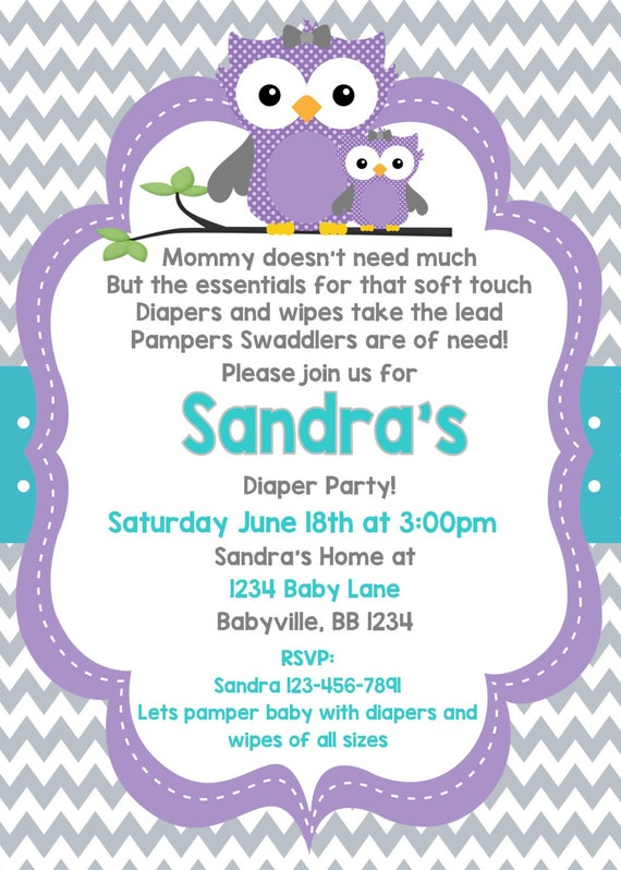 Owl baby shower invitation owl invite purple owl babyshower like this item filmwisefo Image collections