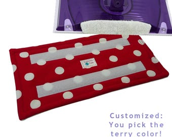 1+ Reusable Swiffer Wet Jet Pads, DOTS On LIPSTICK, EcoGreen EcoSwift, Washable Swiffer pads, Terry Cloth Pad, Loop Side of Hook and Loop.