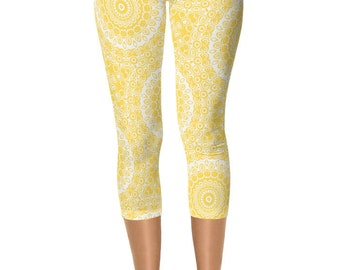 READY TO SHIP - Mustard Yellow Leggings in Size Extra Small, Printed Yoga Pants for Women, Capris
