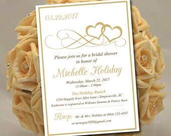 """Heart Bridal Shower Invitation Template - Heart Wedding Shower Template """"Entwined Hearts"""" Gold Shower Invitation Download"""