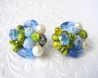 Vintage Glass Cluster Beaded Clip Back Earrings Pantone Little Boy Blue & Lime Punch Green Western Germany Crackle Molded Swirl Crystal Sky