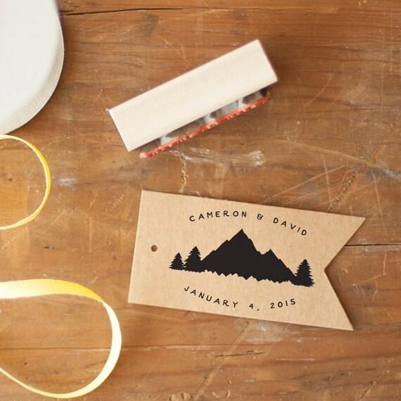 Wedding Monogram Stamp - rubber stamp, mountain stamp, wedding stamp, favor stamp, custom stamp, wedding logo, woodland wedding tree stamp