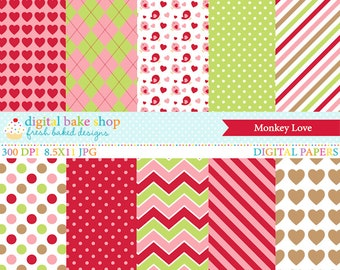 valentines day papers digital - Monkey Love Digital Papers