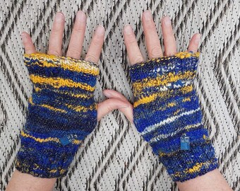 Dr Who, Tardis themed, Allons-y, cosplay, hand spun, hand knitted 8 inch long, fingerless gloves, texting gloves, medium size