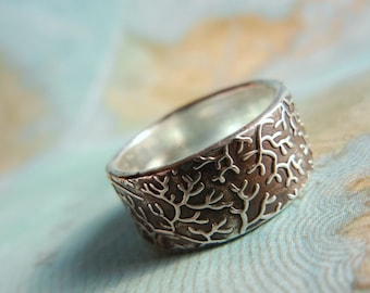 Nautical Silver Ring, Coral Reef Wide Band, Nautical Eco Friendly Jewelry Gift, Coral Ring Size 4 5 6 7 8 9 10 11 12 13 14 15 n Half Sizes
