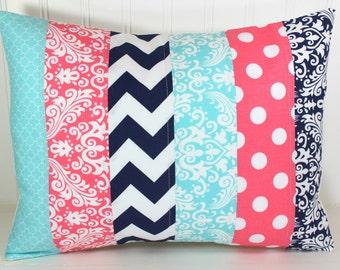 Pillow Cover, Cushion Cover, Baby Girl, Nursery Decor, Pillow, Nursery, Decorative Pillows, 12x16, Coral Pink Navy Blue Aqua Chevron Damask