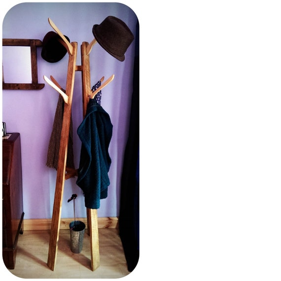 Coat Hat Stand Hall Tree Wood Natural Eco Friendly With