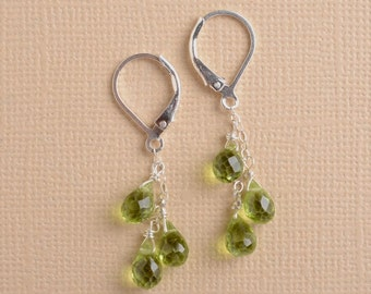 Peridot Earrings, Dangle Earring, Long Gemstone Earrings, August Birthstone, Sterling Silver Leverback Earrings