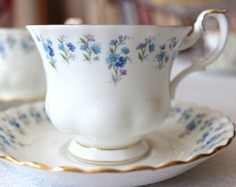 Royal Albert Memory Lane Blue Forget-Me-Nots Teacup and Saucer