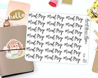 Meal Prep Planner Stickers - Script Planner Stickers - Lettering Planner Stickers - Cooking Planner Stickers - Fits Most Planners - 350