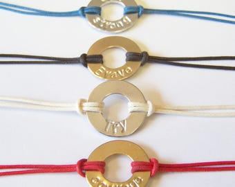 Stamped Washer Bracelets, adjustable, gold & silver, many colors to choose from