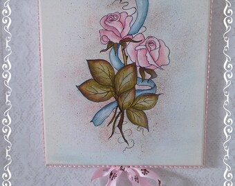 Pretty Watercolor and Ink Style Rose and Ribbon Hand Painting on Stretched Canvas with Edge Trims and French Ribbon, Wall Art, ECS
