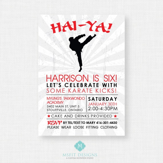 Karate party invitation - Hai-Ya - DIY printable invitation - karate birthday party