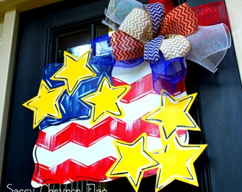 4th of July Flag Patriotic Wreath   Patriotic Wreath   4th of July Decor   Memorial Day Wreath   4th of July Door Hanger American Flag Decor