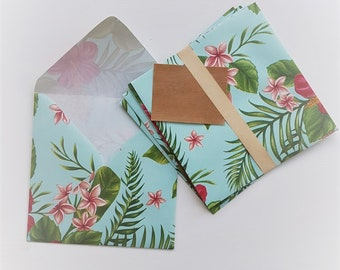 5 Sets of envelopes tropical floral Hibiscus
