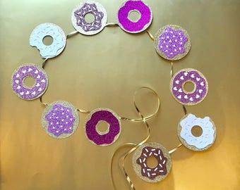 Donut bannière | Décorations de fête Donut | Beignet | Décor de fête d'anniversaire | Rose paillettes |