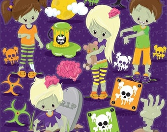 80% OFF SALE Halloween zombie kids clipart commercial use, vector graphics, zombie digital clip art, digital images - CL916