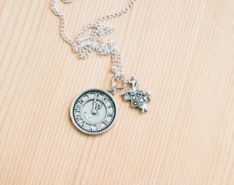 White rabbit Alice in wonderland inspired pendant clock time gift idea for girls animal fairy tale once upon a time