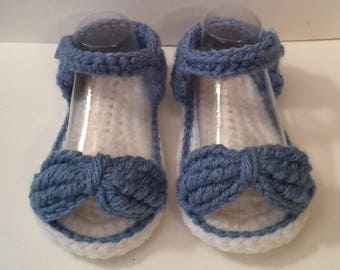 Perfect Baby Shower Gift Handmade Crochet Sandals, Bow, Button Closure - Sizes 0-12 Months