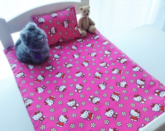 Hello Kitty Doll Bedding Set, American Girl, Bitty Baby, Handmade Bedding, Reversible Blanket, Matching Pillow, Ready To Ship