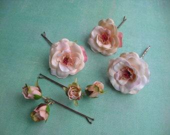 PAMILA ~ Bridal Set/5 Bridal Peach Spray Roses with Buds Hair Bobbies