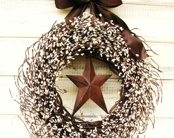 Fall Wreath-Primitive Door Wreath- Fall Door Decor-CHOCOLATE BROWN & White Star Wreath-Country Primitive Decor-Custom Made Scented Wreaths