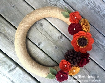 Fall Wreath, Fall Burlap Wreath, Fall Felt Flower Wreath, Thanksgiving Decor, Fall Decor