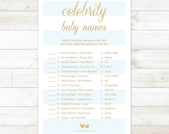 blue stripe gold glitter celebrity baby names baby boy shower matching game, blue and gold glitter baby shower game - INSTANT DOWNLOAD