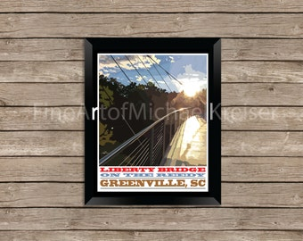 Liberty Bridge, Falls Park Downtown Greenville, South Carolina