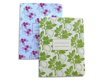 Letterpress Journal Set, Notebook Set, Jotters, Vintage Fruit Pattern, Lemons, Cherries, Retro Mid Century, Kitchen Notes, JOT02