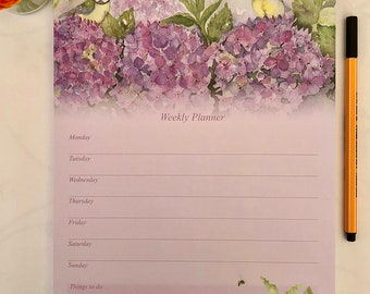 Weekly Planner - Blue Tits in the Hydrangea