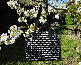 Large handbag in coated cotton patterned mustaches black and white