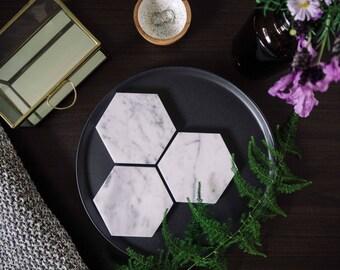 Carrara Marble Coasters - Stone Coasters - Housewarming Gift - Geometric - 6 pack - Marble