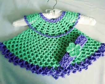 Crochet Baby Dress  and headband handmade newborn dress,Free shipping