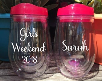 Girls Weekend Girls Trip Bachelorette Party Cup Wine Glass Wine Tumbler Wine Drink Tumbler Stemless Wine Tumbler Personalized
