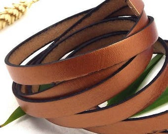 flat leather coppered metallized 10mm by 20cm