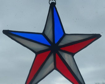Stained Glass Red, White and Blue Patriotic Star Suncatcher