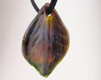 Glass Leaf Pendant, Boro Glass Jewelry, Hand Blown Glass, Fall jewelry, Borosilicate Art Glass, Lampwork, Anniversary Gift, OOAK Jewelry