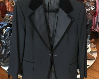Vintage 1960's Black Tuxedo Jacket with Black Velvet Trim