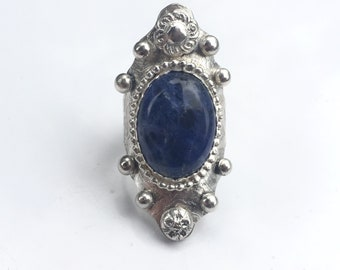 Sterling Silver Sodalite Saddle Boho Ring