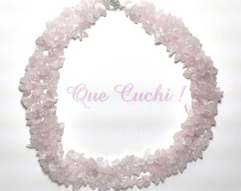 Necklace braided with chips of pink Quartz