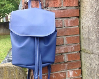 "Blue faux leather backpack ""Blue Raspberry"""