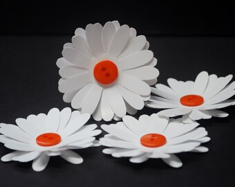 Paper Flowers, daisies with orange button centers, daisy flower, wedding favors, party favor, wedding flowers, set of 4, scrapbooking, cards