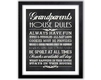 Gifts For Grandparents - Grandparents Rules Sign - Personalized Grandparent Gift  - Chalkboard Wall Sign - Grandma - Grandpa