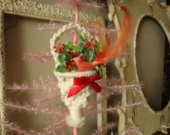 Vintage handmade christmas ornament vintage tussie mussie crochet cone with flowers and flocked bird red and white vintage Christmas decor